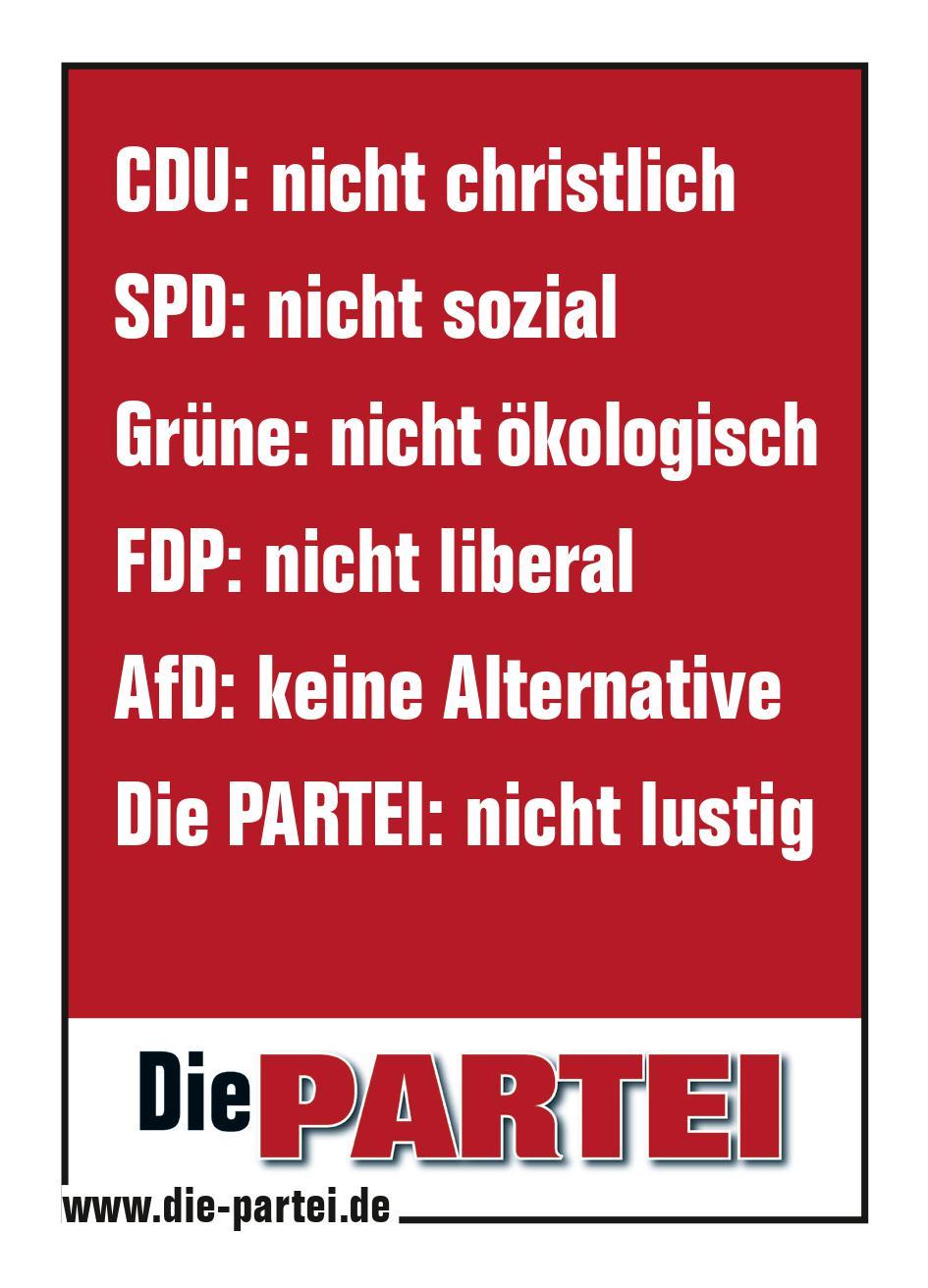 """50 Aufkleber """"Die PARTEI: nicht lustig"""" (DIN A7)"""