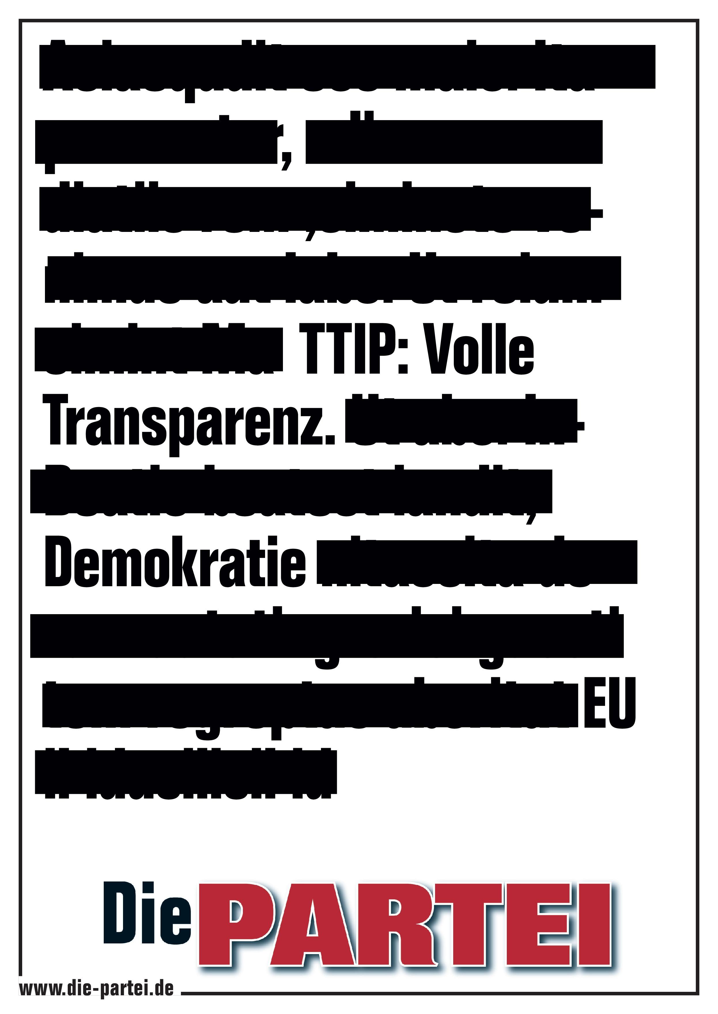 TTIP: Volle Transparenz.